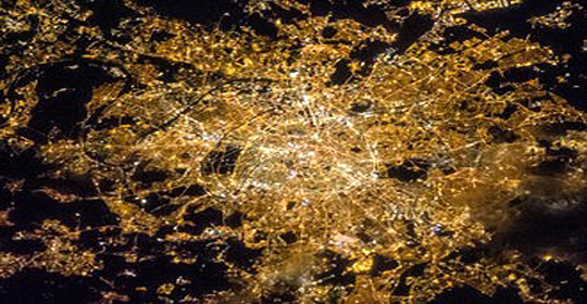 Satellite view of the center of Paris at night (France)