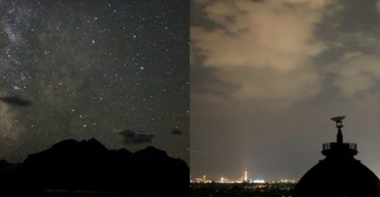 "In pristine areas, clouds appear black and blot out the stars. In urban areas, clouds strongly enhance ""sky glow."""