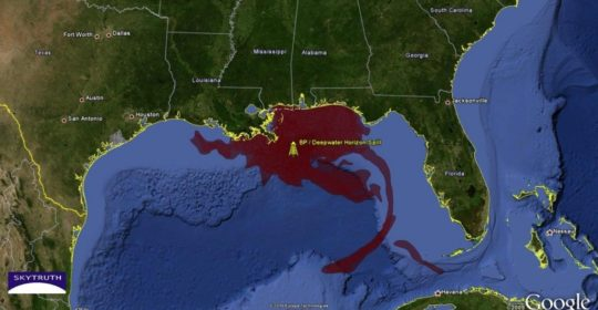 This map shows the magnitude of the oil spill in the Gulf of Mexico